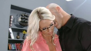 Nasty office worker Emma Starr gets muff diving Preview Image