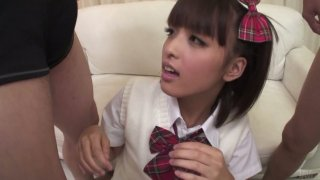 Cute girl Rin Yuzuki blows two hairy cocks and licks small balls Preview Image