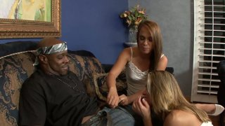 Brutal black dude with huge cock gets a hot blowjob by Haley Sweet and Amanda Blow Preview Image