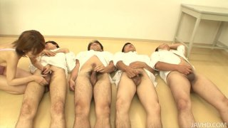 A bunch of guys getting jerked and blown Preview Image