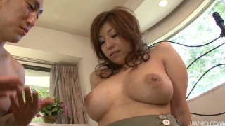 Brownhead japanese slut Naho Hadsuki_squeezes her big tits and gets her wet_pussy licked dry Preview Image