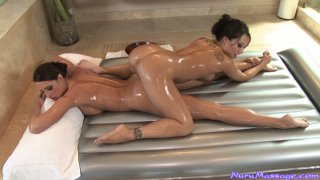 Hot lesbians Asa Akira and Kortney Kane have nuru massage Preview Image