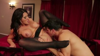 Busty brunette Leena Sky gets her quim fucked doggy hard Preview Image