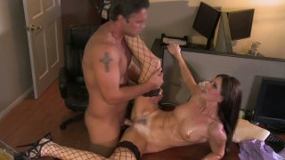 Trashy brunette slut India Summer gets hammered in a missionary position Preview Image