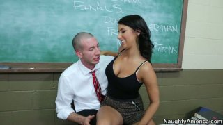 College babe Evi Fox hits on her male professor and lets him eat her Preview Image
