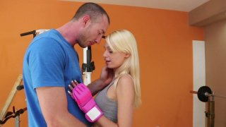 Attractive blonde babe Erica Fontes fucks her trainer in a gym Preview Image