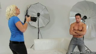 A horny photographer Lylith LaVey seduces the model and sucks his cock right on the photo shoot Preview Image