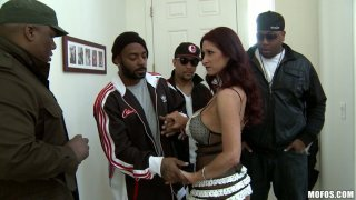 Horny red head Tiffany Mynx seduces men in the ghetto Preview Image