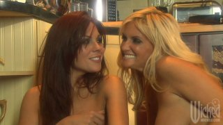 Sluttish bitches Kirsten Price and Rhyse Richards please each other in the kitchen Preview Image