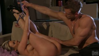 Tight blonde princess Carolyn Reese fucks her man in living room Preview Image