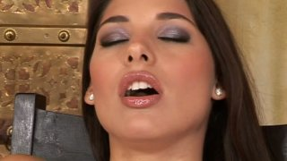 Slutty wanker Zafira fingerfucks her wet pussy on the chair Preview Image