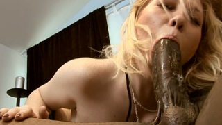 Pale skin bitch Brooke D gives a deepthroat blowjob to a dark skinned stud Preview Image