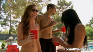 Poolside Threesome with Sexy Babes Adriana Luna and Mia Gold Preview Image