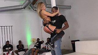 Big tits blonde gang-banged by black fellows Preview Image