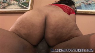 Plump ebony bitch Cashmere Mist gets her booty drilled from behind Preview Image