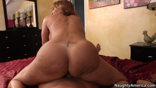 Lustful curly haired mommy_Tara Holiday_rides cock on POV video Preview Image