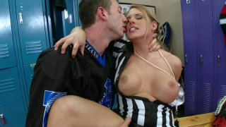 fingCoach seduces sexy referee Charisma Cappelli in_the locker room Preview Image