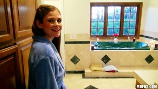 Slim girlie Laura Brooks sucks a cock in the hot bath Preview Image