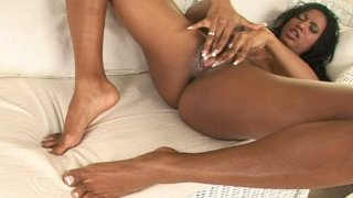 Hot and busty ebony beauty Tyra Lex drills herself with dildo Preview Image