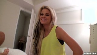 Outaregously beautiful blonde Jessa Rhodes gives amazing blowjob on POV vid Preview Image