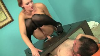 Playful bitch Jamey James rides Ralph Long's dick intensively Preview Image