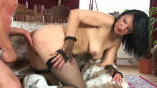 Horny cougar Reena bends over for Ryan and gets fucked doggy style Preview Image