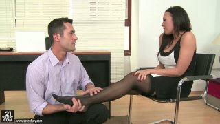 Handsome boss is crazy about beautiful feet of sexy Rio Lee Preview Image