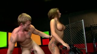 Blonde guy James Huntsman fucks Charity Bangs doggy style Preview Image