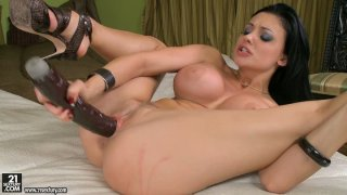 Aletta Ocean fingers herself and bangs her pussy_with_big dildo Preview Image