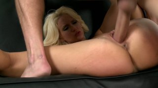 Flexible blonde lady Trixie fucks missionary style on the couch Preview Image