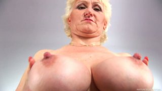 Buxom BBW granny Janka gives solo masturbating performance Preview Image