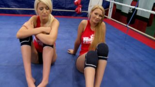 Two blonde bitches Antonya and Blanche give an interview before a furious fight on a ring Preview Image