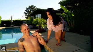 Horny Zoey Holloway sucks a hard dick_near the pool and rides intensively Preview Image