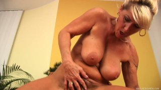 Classy looking mature slut Berna rides a hard rod and sucks it deepthroat Preview Image