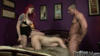 Busty red head whore drills two bisexuals with strapon Preview Image