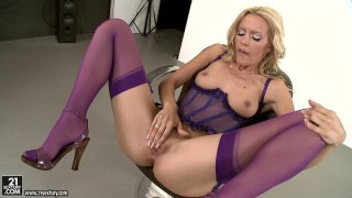 Astonishing blonde babe Sophie Moone performs an outstanding solo action Preview Image