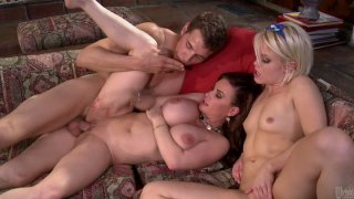 Busty milf Diamond Foxxx and titless skank Ash Hollywood bang young stud Preview Image