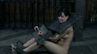 Sweaty slave Elise Graves is in stocks in the dirty place Preview Image