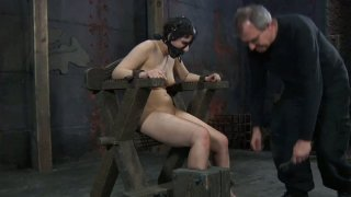 Pallid BDSM fan Marina gets tied up_and wears a slave hood Preview Image
