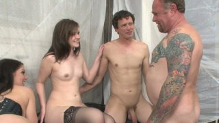 Kinky mom Kiki Daire is fucking in an bisexual foursome_sex video Preview Image