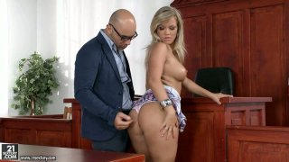 Sunny Diamond blows cock in the courtroom Preview Image