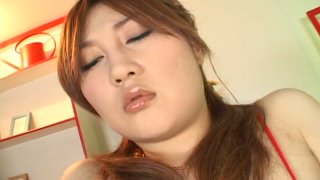 Perky Japanese slut Hiyori Konno masturbates with a dildo in a solo sex video Preview Image