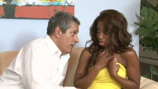 Curly haired ebony babe Jade Nacole fills_her mouth with white meat Preview Image