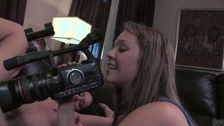 Sexy blonde camera girl records how Mia Valentine sucks dick of her boyfriend Preview Image