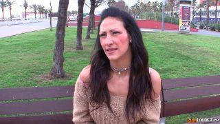 Sexy European brunette milf gets picked up in the park Preview Image