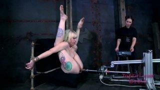 Tattooed blonde skank Sarah Jane Ceylon in her hardcore BDSM session Preview Image