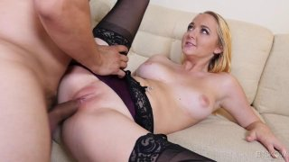 Blonde in black stockings_rides his throbbing cock like possessed Preview Image