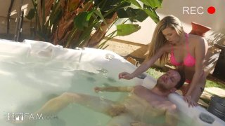 Horny Stepsis Gives Stepbro A Hot Tub Hand Job Preview Image