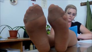 Sexy nylon feet tease in tan pantyhose Preview Image