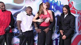 Bukkake. White girl_sucking 7 black cocks Preview Image